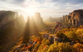 Картинка осень, солнце, свет, горы, скалы, Греция, Метеоры