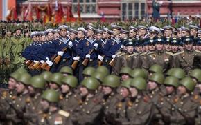Картинка праздник, день победы, солдаты, моряки, красная площадь, 9 Мая