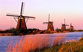 Обои канал, трава, Голандия, Мельницы