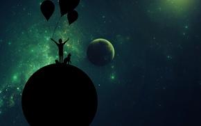 Картинка кошка, космос, фон, животное, вселенная, планета, шарик, Ребенок