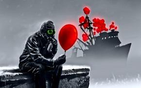 Картинка шарики, человек, корабль, противогаз, romantically apocalyptic