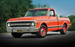Обои chevrolet, c10, fleetside, pickup, 1970, шевроле, пикап