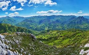 Картинка поля, Испания, горы, панорама, леса, Quiros, облака, небо, долина, камни