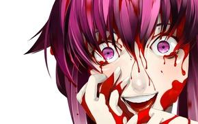 Картинка страх, ужас, безумие, кровища, Mirai nikki, Дневник будущего, Gasai Yuno, руки в крови