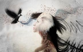 Картинка девушка, стиль, птица