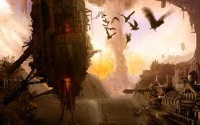 Картинка город, смерч, разрушение, мыши, летучие