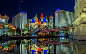 Обои огни, Лас-Вегас, ночь, дома, Невада, США