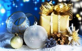 Картинка украшения, подарок, новый год, шар, шишки