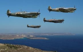 Картинка небо, рисунок, арт, истребители, WW2, британские, Supermarine Seafire, пролив Ла-Ма́нш