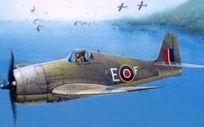 Картинка рисунок, истребитель, арт, Mk. III, Royal Navy, Mk. II, British Hellcat