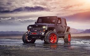 Картинка Red, Front, Forged, Custom, Wrangler, Jeep, Wheels, Track, ADV1, Function