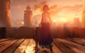 Картинка вода, солнце, лучи, мост, дерево, маяки, Bioshock Infinite, Элизабет, Elisabeth