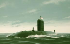 Картинка art, submarine, painting. drawing, HMS Trenchant, ivan Berryman
