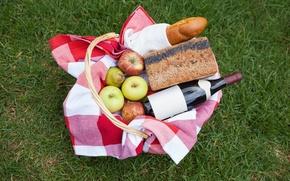 Картинка трава, вино, корзина, яблоки, бутылка, хлеб, груша, фрукты, пикник, скатерть