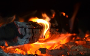 Картинка fire, red, yellow, wood, heat, hot coals