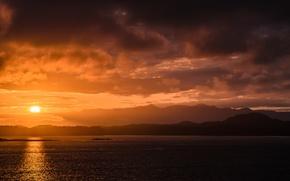 Картинка лес, небо, вода, солнце, облака, закат, тучи, берег, Канада, Британская Колумбия, Тофино