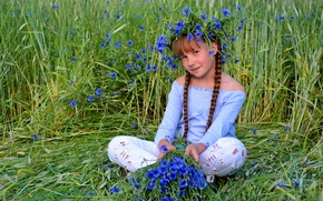Картинка девочка, взгляд, лето, цветы, портрет