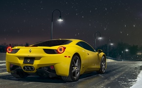 Картинка Ferrari, 458, Snow, Yellow, Italia, Road, Supercar, Rear, Ligth, Nigth