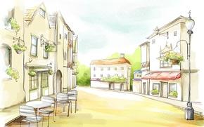 Картинка цветы, улица, рисунок, дома, акварель, фонарь, кафе, вывеска, столики
