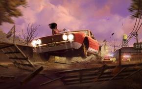 Картинка Небо, Облака, Девушка, Полиция, Свет, Копы, Машины, Здание, Оружие, Погоня, Стрельба, 2K Games, Mafia III, …