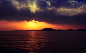 Картинка море, пляж, горы, тучи, рассвет, Badacsony mountain