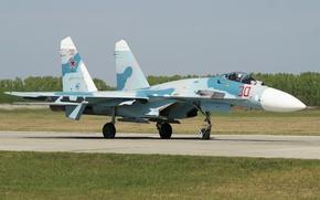 Обои истребитель, Су-27, полоса, аэродром, многоцелевой