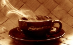 Обои блюдце, Эспрессо, кофе, горячий, чашка