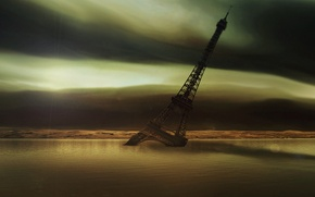 Картинка пустота, вода, эйфелева башня, сумрак, Апокалипсис