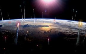 Обои земля, космос, Ракеты