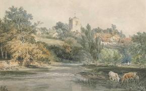 Картинка пейзаж, дом, река, картина, холм, акварель, Уильям Тёрнер, Surrey, from Across the River Mole, with …