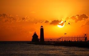 Обои море, маяк, пляж, закат