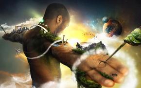 Картинка человек, Земля, оковы