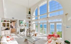 Картинка море, дизайн, стиль, окно, кресла, белая, роскошь, столик, диваны, гостиная