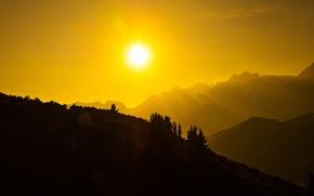 Картинка солнце, горы, Испания, Кантабрия