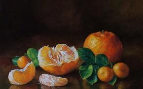 Картинка картина, арт, живопись, painting, мандарины, столе.