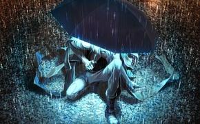 Обои свет, ночь, зонтик, дождь, зонт, арт, лужи, парень, Yuanmaru