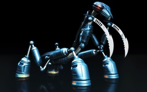Обои богомол, синее, робот, чёрное