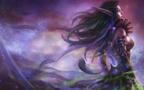 Картинка магия, фэнтези, эльфийка, WarCraft, друид, by shuzong