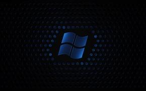 Обои логотип, синий, текстура, черный фон