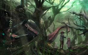 Картинка девочка, мальчик, дети, арт, природа, деревья, аниме, монстр, лес, syo5