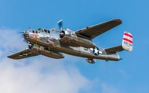 Картинка небо, полет, бомбардировщик, North American, двухмоторный, средний, B-25J, Mitchell