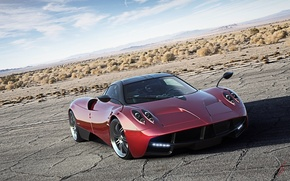 Картинка Red, Pagani, Sky, Power, Front, Road, Supercar, Huayra
