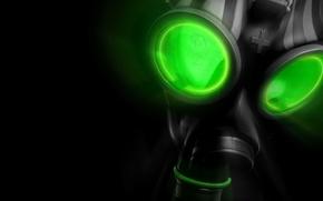 Обои зеленый, противогаз, черный