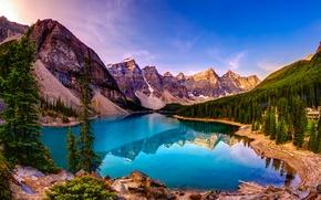 Картинка лес, небо, деревья, пейзаж, горы, озеро