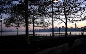 Обои вечер, пейзаж, романтика, небо, люди, город