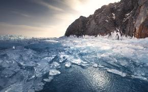 Картинка лед, небо, вода, озеро, ice, sky, lake