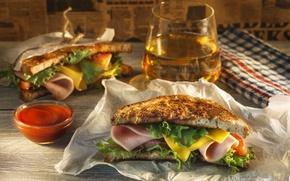 Картинка пиво, сыр, мясо, бутерброд, соус, салат, начинка, ветчина