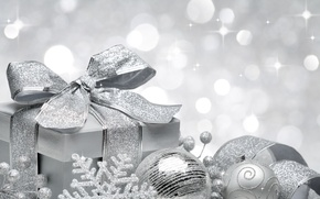 Картинка украшения, снежинки, lights, огни, шары, лента, new year, balls, боке, bokeh, Merry Christmas, decoration, Счастливого …