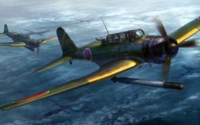 Картинка war, art, airplane, painting, aviation, ww2, Nakajima B5n2 Type 97 Kate