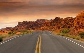 Картинка дорога, небо, облака, камни, пустыня, шоссе, США, Невада, национальный парк, Долина огня, Valley of fire …